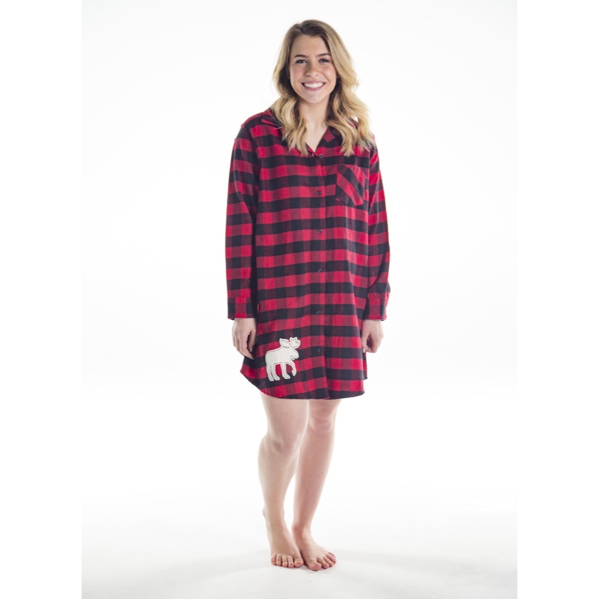 Womens Moose Plaid Flannel Nightshirt | The Owl Barn Gift Collection